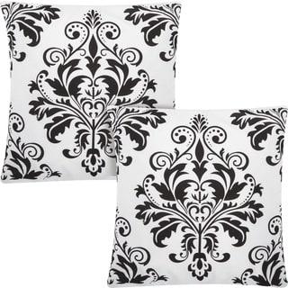 kathy ireland Damask Flocking White/Black 20-inch Throw Pillow (Set of 2) by Nourison