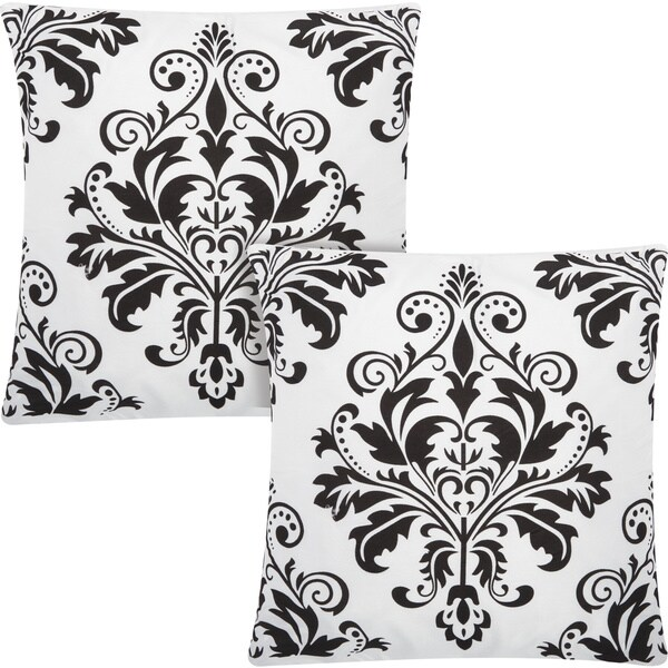 kathy ireland Damask Flocking White/Black 20-inch Throw Pillow (Set of 2) by Nourison (20-Inch X 20-Inch)