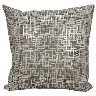 Mina Victory Natural Hide Sitara Laser Cut Silver/ White 18 x 18-inch Throw Pillow by Nourison