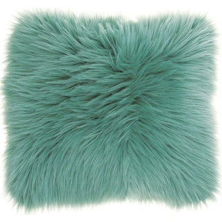 Mina Victory Faux Fur Celadon 22-inch Throw Pillow by Nourison