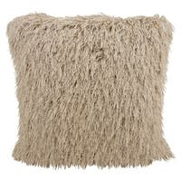 Mina Victory Shag Yarn Shimmer Beige 24-inch Throw Pillow by Nourison