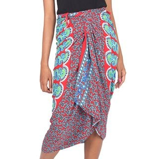 Handcrafted Rayon 'Red Sunrise' Sarong (Indonesia)