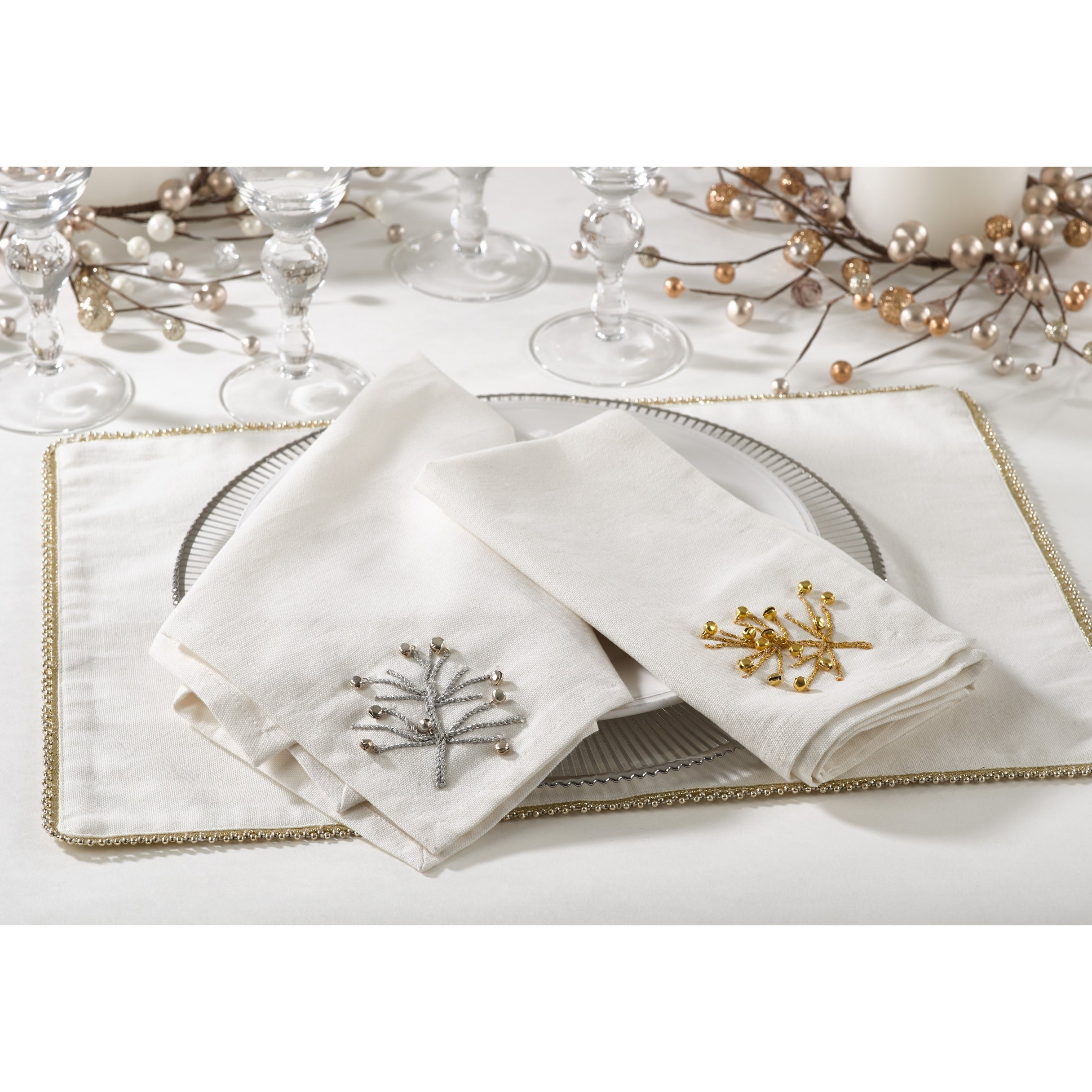 Saro Nadalin Collection Beaded Xmas Tree Napkin (Set of 4...