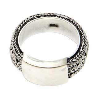 Handmade Men's Sterling Silver 'Borobudur Dragon' Ring (Indonesia)