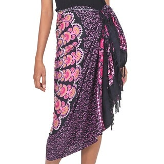 Handcrafted Rayon 'Pink Sunshine' Sarong (Indonesia)