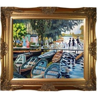 Claude Monet 'Bathers at Grenouillere,1869' Hand Painted Framed Canvas Art
