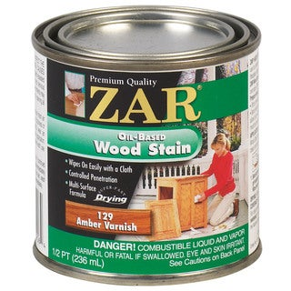 Zar 12906 1/2 Pint Amber Varnish Zar Oil Based Wood Stain