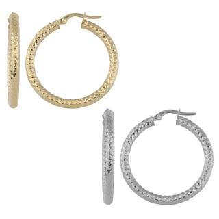 Fremada Italian 14k Gold 3x25-mm Diamond-cut Round Hoop Earrings (yellow gold or white gold)