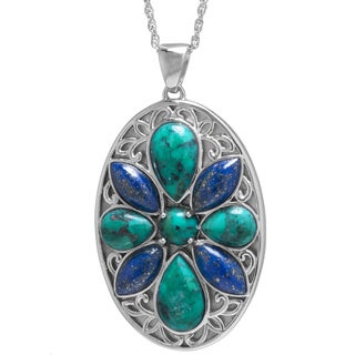 Sterling Silver Enhanced Turquoise and Dyed Lapis Medallion Pendant Necklace