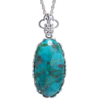 Sterling Silver Enhanced Turquoise Scalloped Pendant Necklace