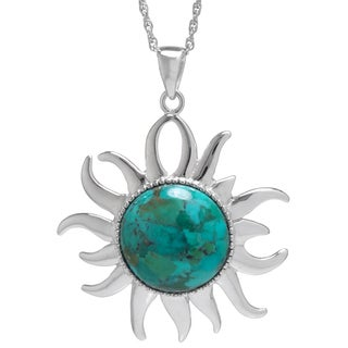 Sterling Silver Enhanced Turquoise Sun Pendant Necklace