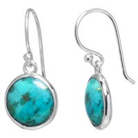 Sterling Silver Enhanced Turquoise Round Drop Earrings