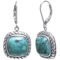 Sterling Silver Enhanced Turquoise Inlay Rope Square Drop Earrings