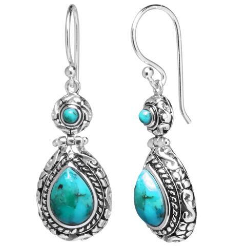 Sterling Silver Enhanced Turquoise Oxidized Teardrop Earrings