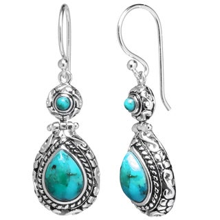 Sterling Silver Enhanced Turquoise Oxidized Teardrop Earrings