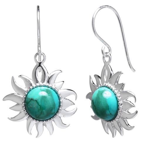 Sterling Silver Enhanced Turquoise Sun Drop Earrings