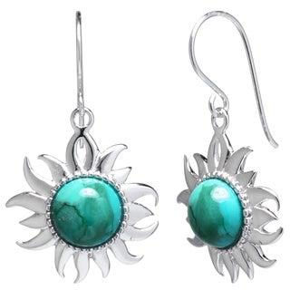 Sterling Silver Enhanced Turquoise Sun Drop Earrings