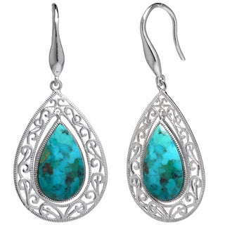Sterling Silver Enhanced Turquoise Filigree Teardrop Earrings