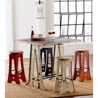 White Metal Wood Sawhorse Pub Height Table