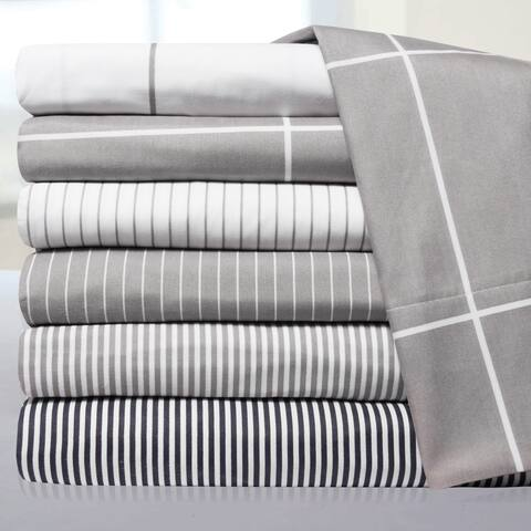 Loft Collection Pinstripe, Classic Stripe and Windowpane Modern Bed Sheet Sets
