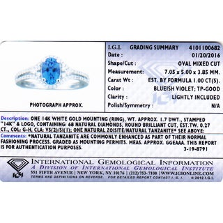 Oravo 14k White Gold Tanzanite 1/4ct TDW IGI Certified Diamond Ring (G-H, VS2-SI1)
