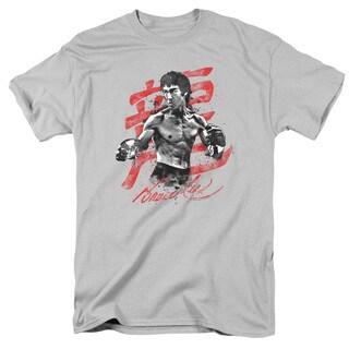 Bruce Lee/Ink Splatter Short Sleeve Adult T-Shirt 18/1 in Silver