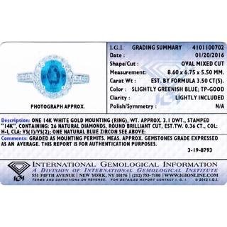 Oravo 14k White Gold Blue Zircon 2/5ct TDW IGI Certified Diamond Ring Size 6 (H-I, VS1-VS2)