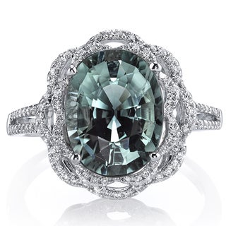 Oravo 14k White Gold Green Tourmaline 1/4ct TDW IGI Certified Diamond Ring (G-H, VS1-VS2)