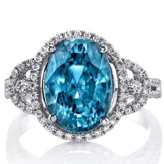 Oravo 14k White Gold Blue Zircon 1/3ct TDW IGI Certified Diamond Ring Size 6 (F-G, VS1-VS2)