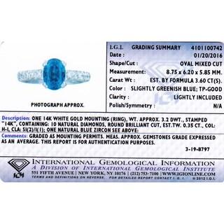 Oravo 14k White Gold Blue Zircon 3/8ct TDW IGI Certified Diamond Ring Size 6.5 (H-I, SI2-I1)