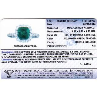 Oravo 14k White Gold Green Tourmaline 2/5ct TDW IGI Certified Diamond Ring Size 5 (G-H, SI1-SI2)