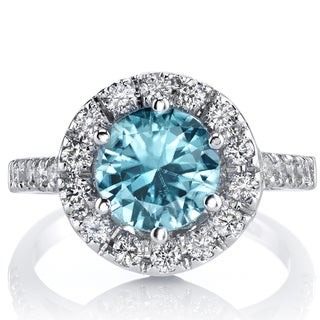 Oravo 14k White Gold Blue Zircon 5/8ct TDW IGI Certified Diamond Ring Size 5 (I-J, SI1-SI2)