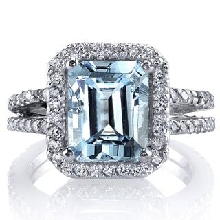 Oravo 14k White Gold Aquamarine 7/8ct TDW IGI Certified Diamond Ring (G-H, SI1-SI2)