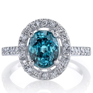 Oravo 14k White Gold Blue Zircon 1/2ct TDW IGI Certified Diamond Ring Size 7 (G-H, SI1-SI2)