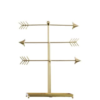 Urban Trends Collection Metallic Gold-finished Metal Directional Arrow Jewelry Holder with Bone Fletching on a Rectangular Base