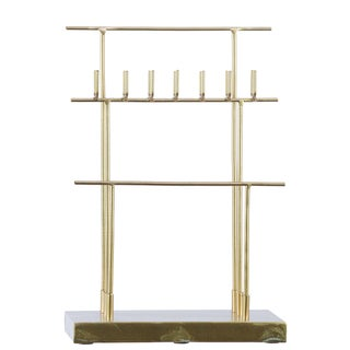 Urban Trends Collection Goldtone Metal T-shaped 7-hook Rectangular Base Jewelry Holder