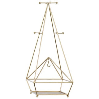 Urban Trends Collection Metallic-gold-finished Metal Pyramidal Jewelry Holder