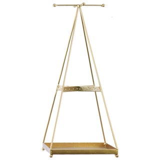 Metallic Goldtone Finish Metal Pyramidal Jewelry Holder with Intersecting Lines at Top and Middle
