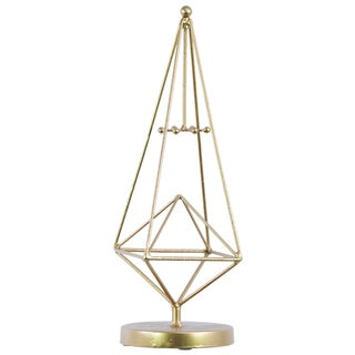 Metal with Gold Metallic Finish Pyramidal Jewelry Holder on Round Stand