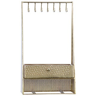 Urban Trends Collection Gold Metal Rectangular Jewelry Holder with 7 Hooks and 1 Drawer