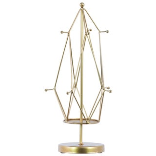 Urban Trends Collection Goldd Metal Cylindrical Jewelry Holder