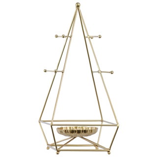Urban Trends Collection Metallic Gold Metal Pyramidal Jewelry Holder with Round Center