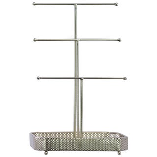 Urban Trends Collection Champagne Metallic Finish Metal T-Shaped Jewelry Holder on Rectangular Base