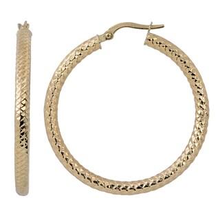 Fremada Italian 14k Yellow Gold 3x30-mm Diamond-cut Round Hoop Earrings