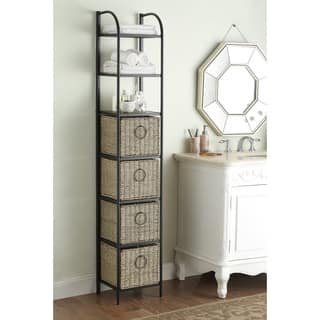 Windsor Black Brown Metal Slate Wicker Bookcase With Baskets