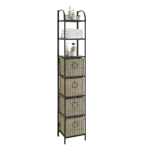 newest bf223 6aa14 Shop Windsor Black/Brown Metal/Slate/Wicker Bookcase with ...