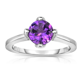 Noray Designs Sterling Silver 1 1/6ct TGW Amethyst 4-prong Solitaire Ring