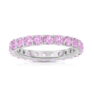 Noray Designs Sterling Silver 2 7/8ct TGW Pink Sapphire Eternity Ring