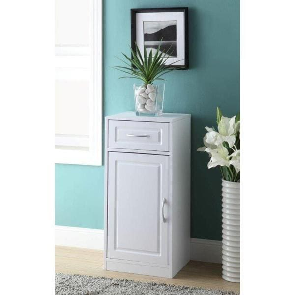 1-door/ 1-drawer White Bathroom Base Cabinet