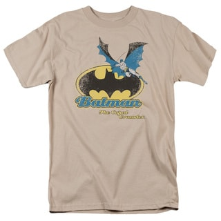 Batman Caped Crusader Retro Short Sleeve Adult T-Shirt 18/1 in Sand